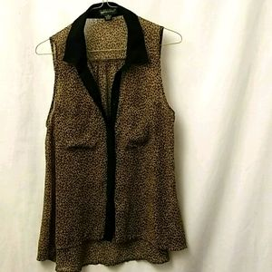Qed London Womens Size 10 Sleeveless Blouse Brown